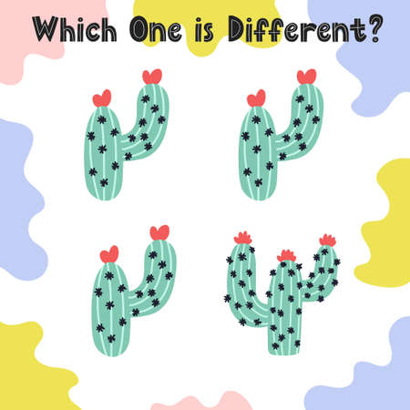 Which one is different activity page for kids. Find the different cactus worksheet. Puzzle game for toddlers. Vector illustration