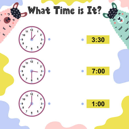 What time is it worksheet for kids. Telling time practice. Educational activity game template. Vector illustration