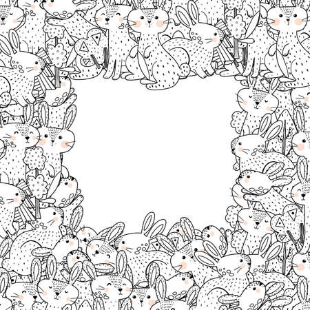 Outline frame template with funny rabbits. Coloring page