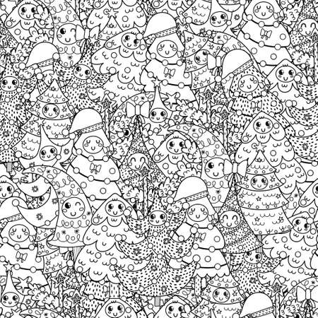 Happy Christmas trees black and white seamless pattern Imagens