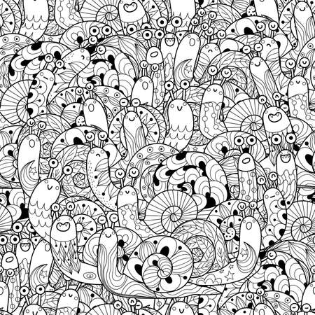 Black and white seamless pattern with funny snails
