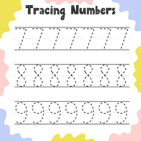 Tracing numbers 7, 8, 9 activity page for kids. Preschool writing worksheet Ilustração