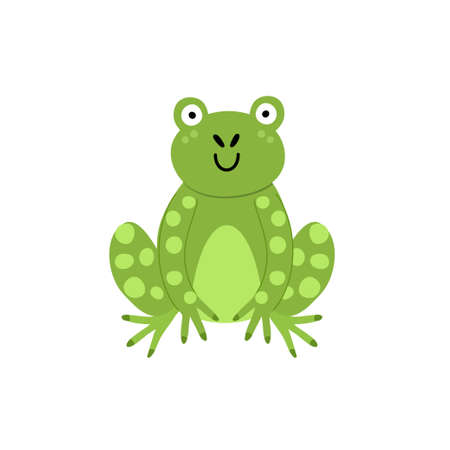 Cute frog print for kids. Funny character isolated element in childish style
