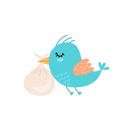 Cute bird carrying baby bag. Baby shower Isolated element. Funny character