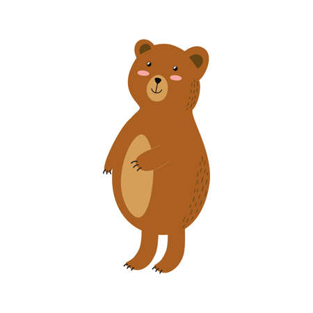 Cute brown grizzly bear isolated element. Forest character for kids design