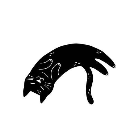 Black cat sleeping isolated element. Cute feline character in cartoon style