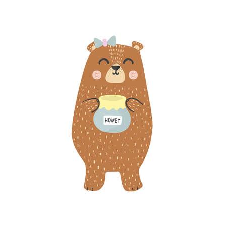 Cute brown grizzly bear with a honey jar Illusztráció