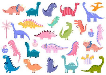 Cute dinosaurs big bundle. Dino set. Collection with Tyrannosaurus rex, Stegosaurus 矢量图像