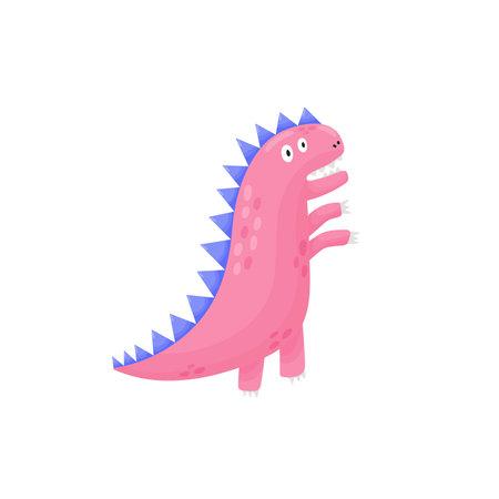 A worried dinosaur in childish style print. Funny tyrannosaurus rex