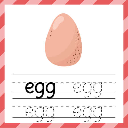 Tracing worksheet with the word - Egg. Learning material or flashcard for kids