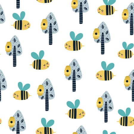 Cute bee in the forest seamless pattern. The woodland hive background