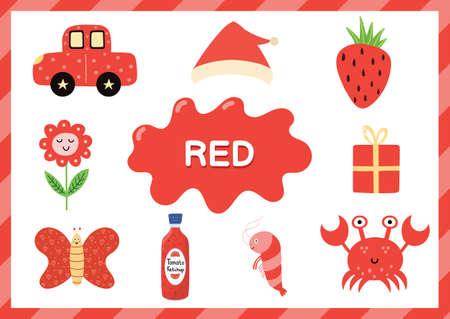 Learning the color red. Educational poster for kids. Primary color