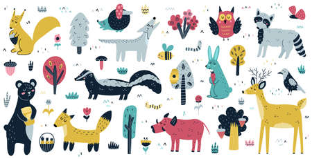 Forest animals big collection. Cute woodland characters and trees set Ilustração