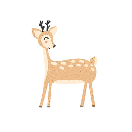 Cute deer in cartoon style. Forest character isolated element. Reindeer funny print