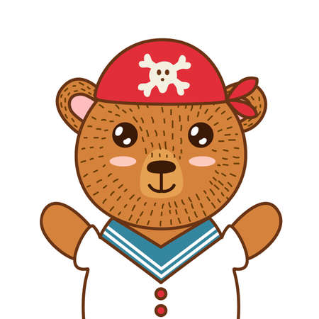 Cute pirate bear. Brown grizzly animal in a red hat. Forest character for kids design