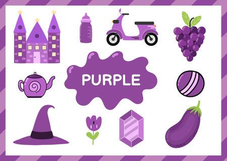Purple. Educational worksheet for kids. Learning the color purple set Vetores