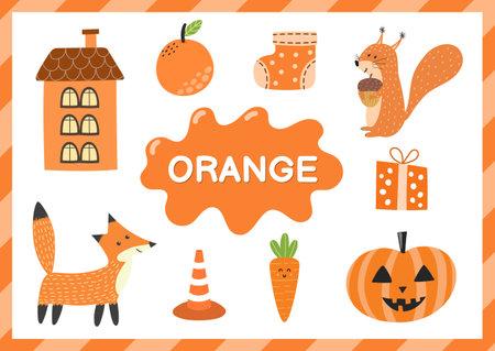 Orange. Educational worksheet for kids. Learning the color orange set Vecteurs