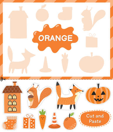 Orange color. Cut the elements and match them with the right shadows. Learning color orange