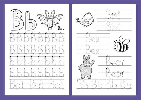 Letter B. Tracing practice worksheet set. Learning alphabet activity page