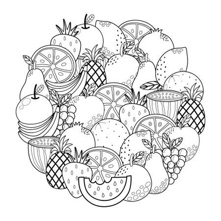 Circle shape coloring page with fruits. Black and white outline background