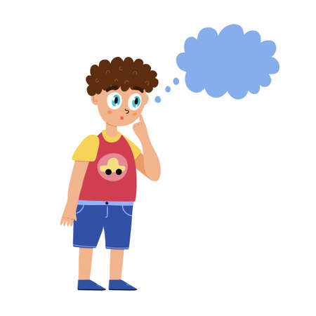 Cute curious boy is thinking. Little kid surprised with speech bubble isolated element