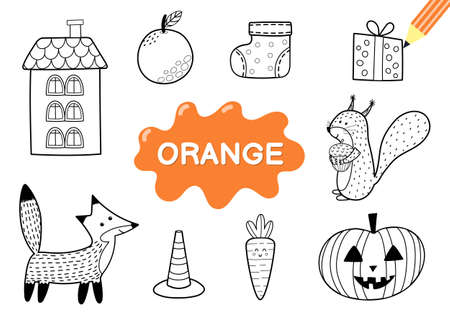 Color the elements in orange. Coloring page for kids. Educational material for school