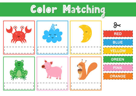 Cut and match the colors. Educational game for kids. Sorting activity puzzle