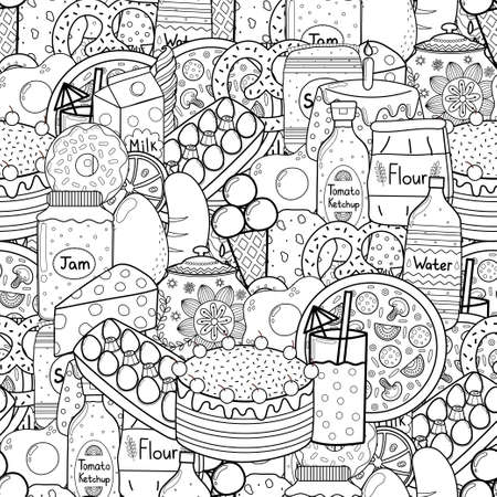 Doodle food black and white seamless pattern. Groceries coloring page
