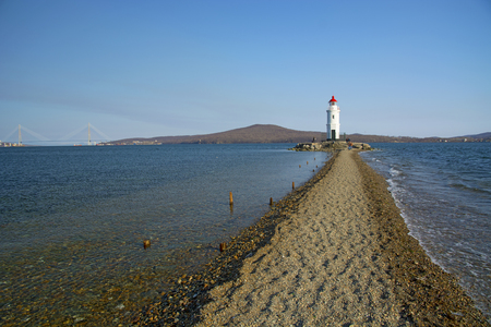 in the sea filled the road to the lighthouse, in the middle of the Sea Beach line passes . the beautiful sea