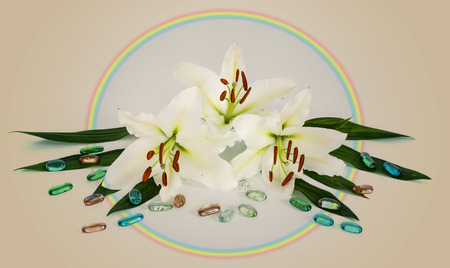 flowers lilies adorned with stones and different decorations. drops of water Stock Photo