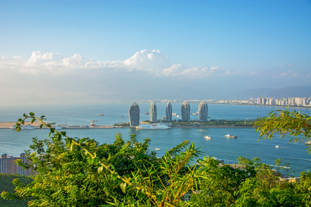 panorama of the city of Sanya, a view of the city in the highest point, the island of the Phoenix. Asia