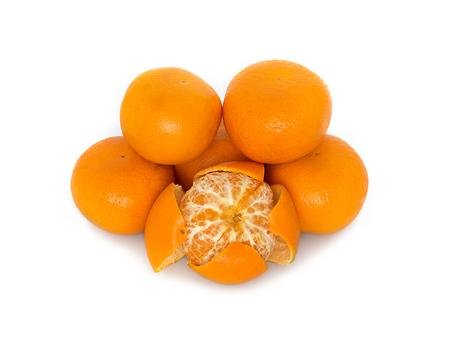 big, ripe, bright, tangerine on a white background, juicy fruit on the isolated background. mandarin. reflection