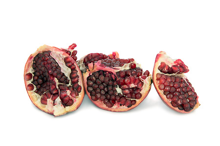 beautiful, juicy, ripe pomegranate on white background, juicy and bright Garnet without background, isolate