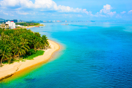 beautiful view of the lagoon with white sand and palm trees, turquoise sea. view from the top. Monkey Island Stock Photo