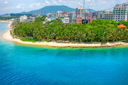 beautiful view of the lagoon with white sand and palm trees, turquoise sea. view from the top. Monkey Island 스톡 콘텐츠