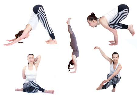 Yoga, different poses on a white background, isolate. practice Yoga instructor, teaching a lesson. Beautiful girl