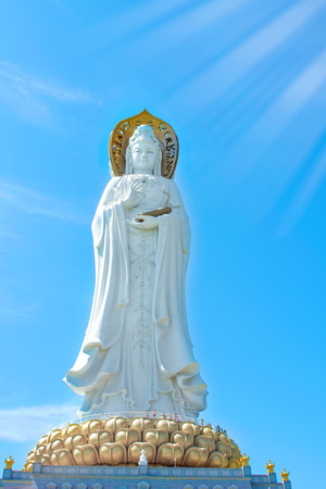 Buddhist Park, open space, many statues and beautiful places on the island of Sanya.Centre of culture and religion. Stock Photo