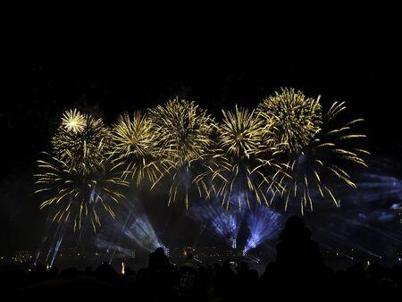 Urlaub und Spaßkonzept. Buntes Feuerwerk der Veriety auf dem nächtlichen Himmelshintergrund. Die Leute sehen zu viele Blitze des gelben Grußes