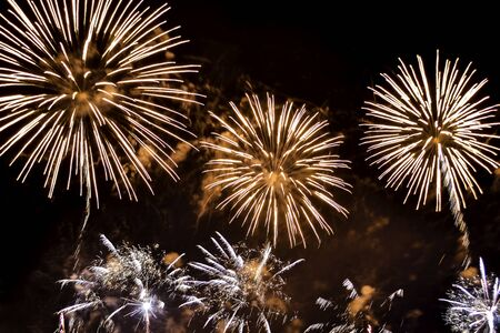 Variety colorful firework on the night sky background. Salute with yellow and orange flashes.