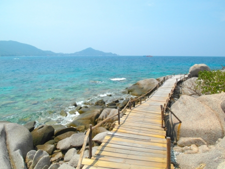nangyuan: Wooden footbridge at Nangyuan Island, Thailand