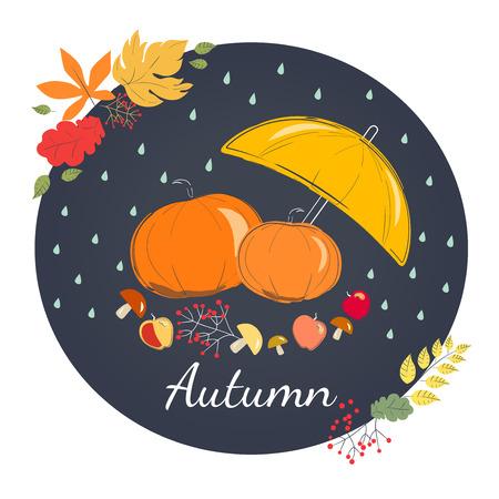 rains: Rainy autumn with yellow umbrella, orange pumpkin, mushrooms and apples. Season of rains.