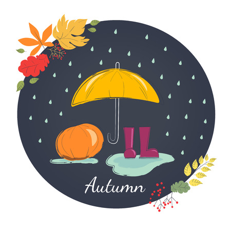 rains: Rainy autumn with rubber boots and umbrella. Season of rains.