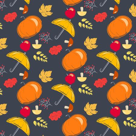 rains: Autumn pattern with yellow umbrella, orange pumpkin, mushrooms and apples. Season of rains.