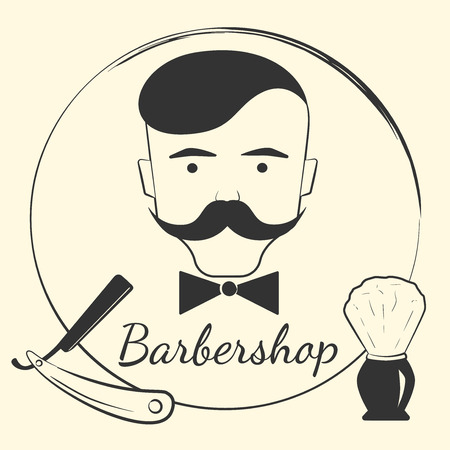 scissors hair: Barber with barber tools. Design concept for a hipster barbershop
