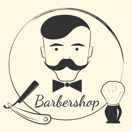 peluquero: Peluquer�a con las herramientas de barbero. Concepto de dise�o para una barber�a inconformista Vectores
