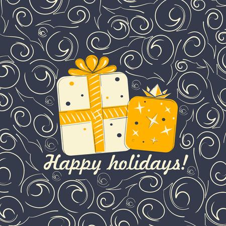 gift card: Happy Holidays vector illustration for holiday design Illustration