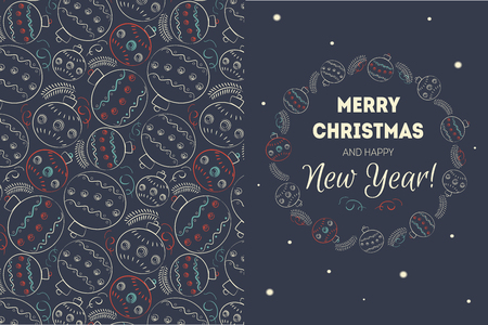 holiday greeting: Merry christmas vector illustration for holiday design, party poster, greeting card or invitation. Holiday background with christmas balls, snow Illustration