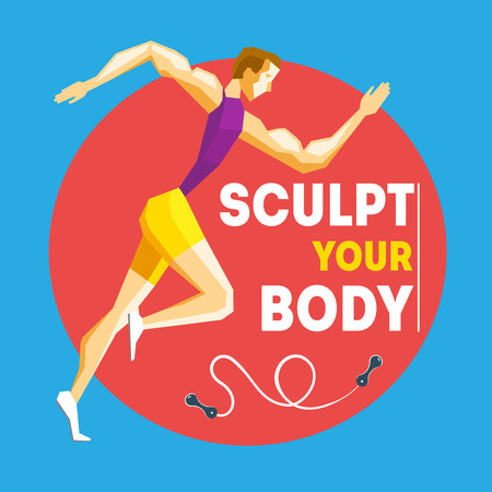 sculpted: Running man with motivate text Colorful vector illustration for your design: motivational posters, advertisement, magazine pages, sport banners, sport sections and healthy lifestyle.