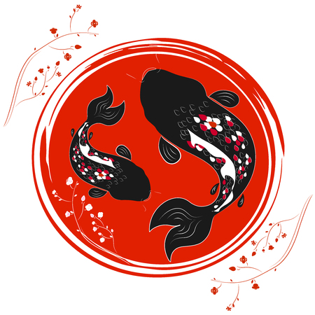 japanise: Traditional japanise illustration with japan flower and carp Illustration