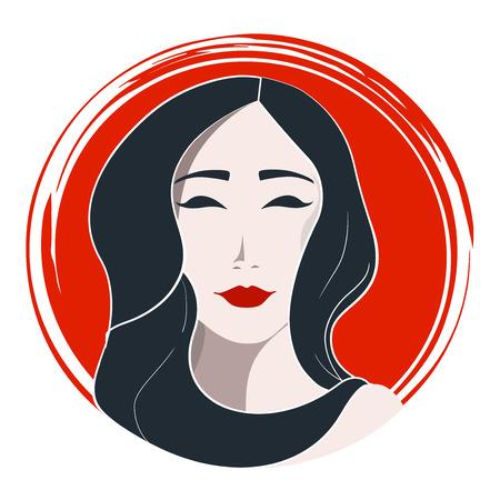 japanese woman: Japanese woman fashion. Woman face hand drawn vector illustration